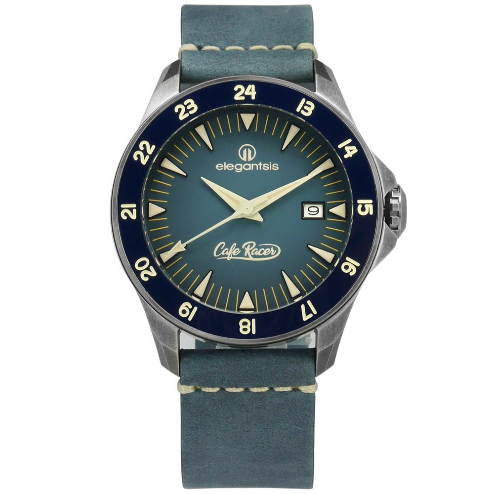 elegantsis CafeRace 新騎士風格機械錶真皮手錶-藍x鍍灰框/44mm