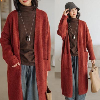 磚紅色犛牛絨羊毛V領開衫外套針織慵懶毛衣長版-設計所在