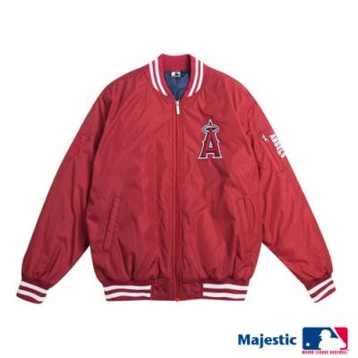 MLB-天使隊俐落簡約風棒球外套-紅 (男)