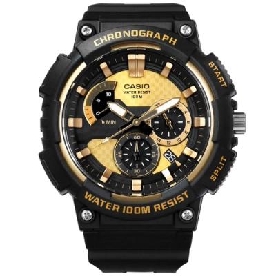 CASIO 卡西歐三針三眼碳纖維紋路防水運動橡膠手錶-金黑色/52mm