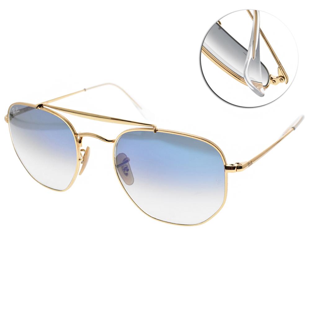 RAY BAN雷朋太陽眼鏡 方框雙槓款/金-漸層藍#RB3648 0013F