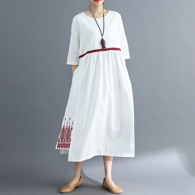 米蘭精品 連身裙短袖洋裝-繡花裙擺白底純棉女裙子2色73xz35