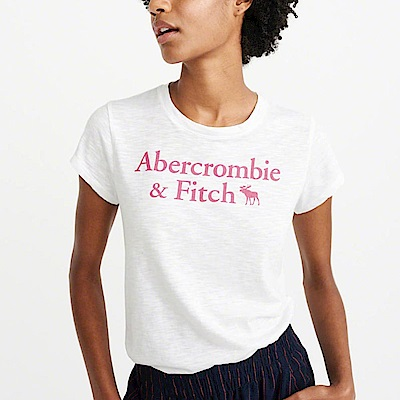 麋鹿 AF A&F 經典文字設計大麋鹿短袖T恤(女)-白色