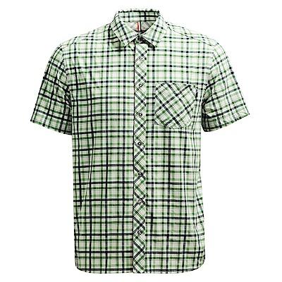 荒野【wildland】男彈性抗UV格子短袖襯衫湖水綠