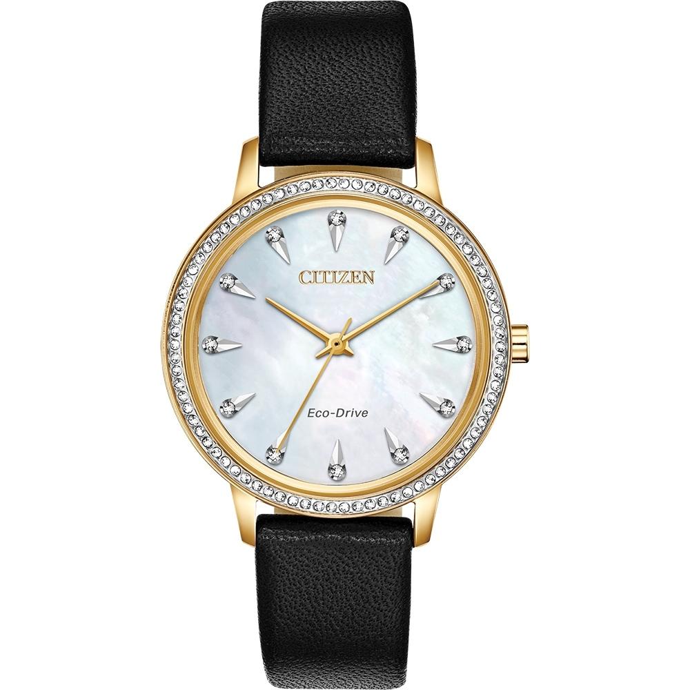 CITIZEN 星辰 光動能限量水晶女錶-金框x黑/35.5mm(FE7042-07D)
