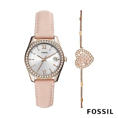 FOSSIL SCARLETTE MINI 粉色鑲鑽皮革女錶和愛心手鍊套組