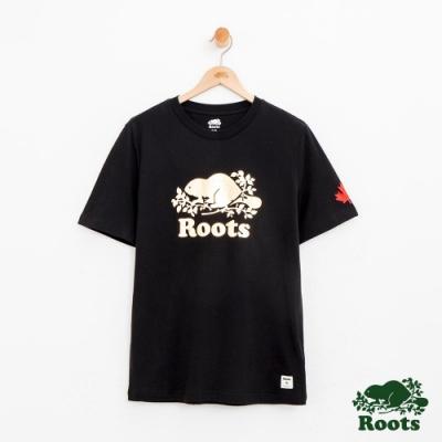 男裝Roots 金屬庫柏海狸短袖T恤-黑