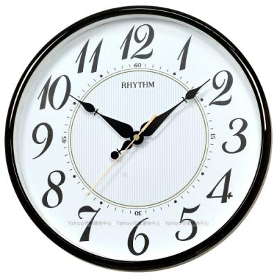 RHYTHM日本麗聲 華麗珍珠印紋裝飾家居超靜音掛鐘-夜空黑/31cm