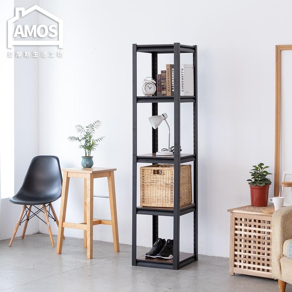 Amos-輕工業復古風免螺五層木板方形角鋼置物架