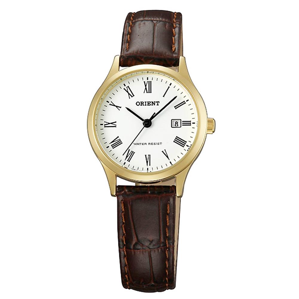 ORIENT東方 復古羅馬時尚手錶-FSZ3N009W-白X金/28mm
