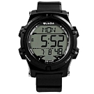 JAGA 捷卡 電子運動 倒數計時 計時碼錶 鬧鈴 日常生活防水 橡膠手錶-黑色/47mm