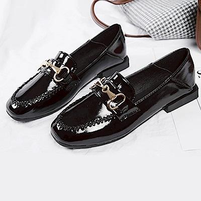 韓國KW美鞋館 激推經典時尚英倫懶人鞋-黑色