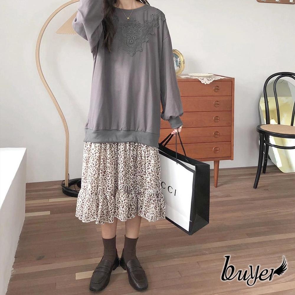 【白鵝buyer】編織布蕾絲 設計款拼接洋裝(灰色)
