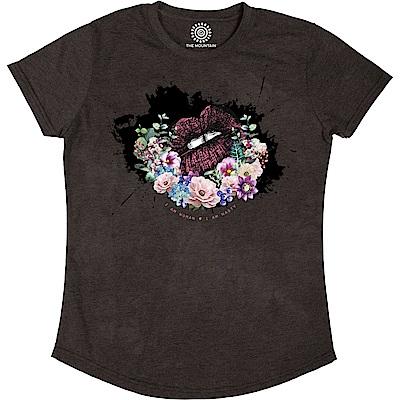 摩達客 美國進口The Mountain都會系列 花之吻 圓領修身女版短T