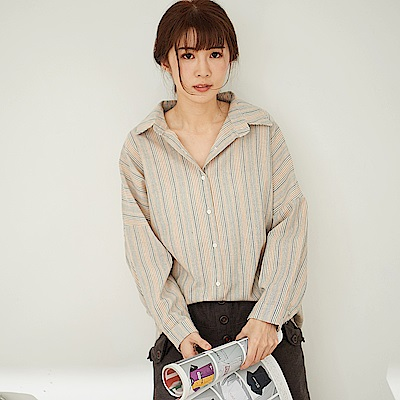 慢 生活 織色條紋長袖襯衫-杏色