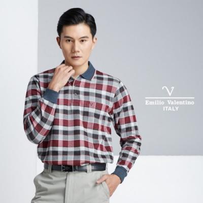 Emilio Valentino品味格紋POLO衫_紅/灰/黑21-8V1858