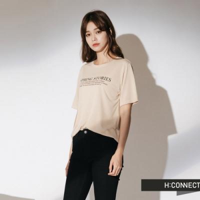 H:CONNECT 韓國品牌 女裝-簡約標語短袖T-shirt-卡其