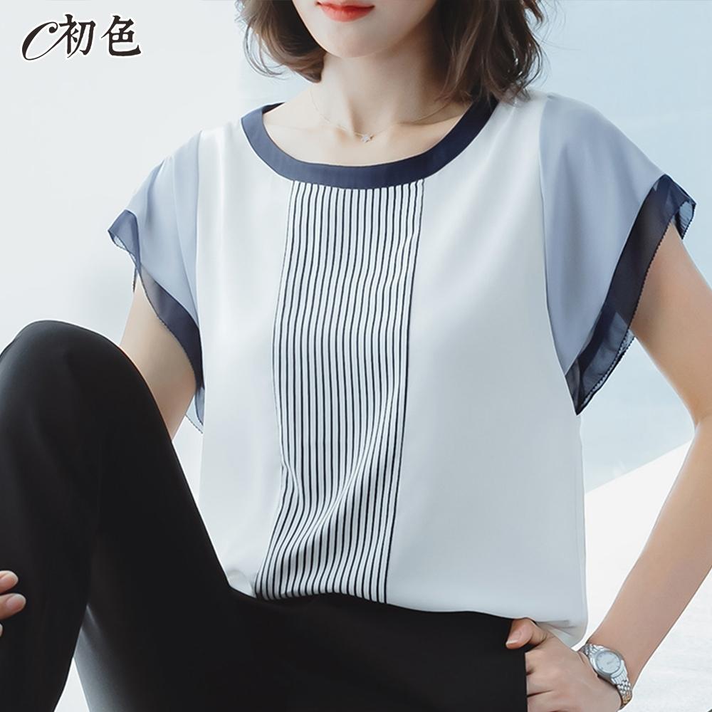 初色  簡約線休閒雪紡衫-白色-(M-2XL可選)