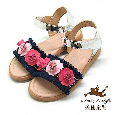 天使童鞋 巴黎小茉莉涼鞋(中-大童)D941-藍