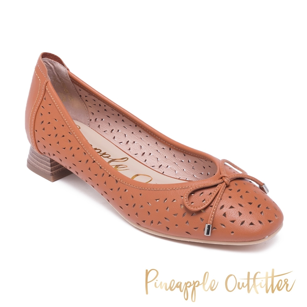 Pineapple Outfitter-DANIA 真皮舒適簍空圓頭娃娃鞋-棕色