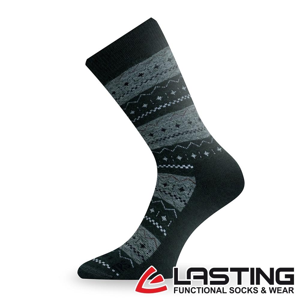 【LASTING捷克】男女款美麗諾羊毛抗菌除臭吸濕排汗中筒健行襪/厚襪LT-TWP黑灰條紋