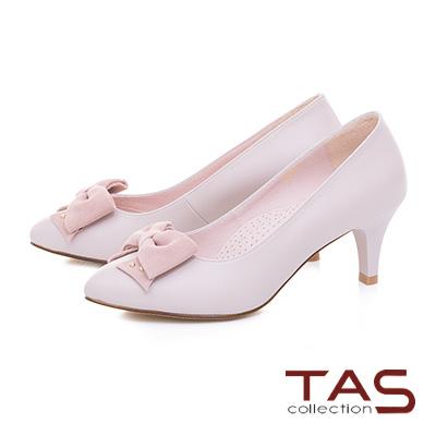 TAS立體蝴蝶結拼接素面尖頭高跟鞋-甜美粉