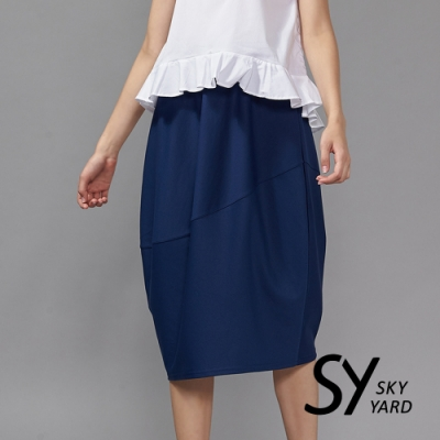 【SKY YARD 天空花園】簡約風格純色造型休閒花苞長裙-深藍