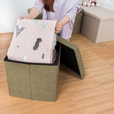 樂嫚妮 亞麻折疊收納椅凳/收納箱-38X38X38cm-綠