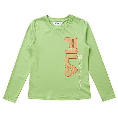 FILA KIDS 童抗UV吸濕排汗上衣-黃綠 5TES-8317-LM