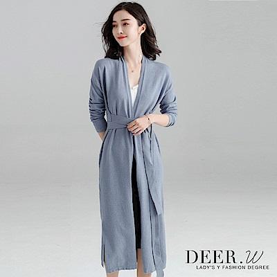 DEER-W-側開衩綁帶針織罩衫外套-灰藍