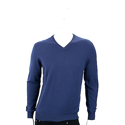 Andre Maurice 喀什米爾深藍色V領羅紋細節羊毛衫(男款)