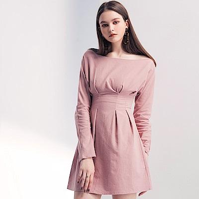 AIR SPACE LADY 一字領純色棉質打褶洋裝(粉紅)