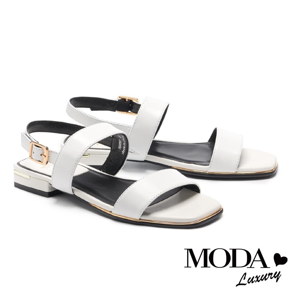 涼鞋 MODA Luxury 簡約率性雙寬帶方頭低跟涼鞋-白