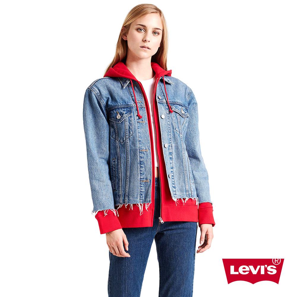 Levis 女款 牛仔外套 連帽假兩件 下擺不收邊