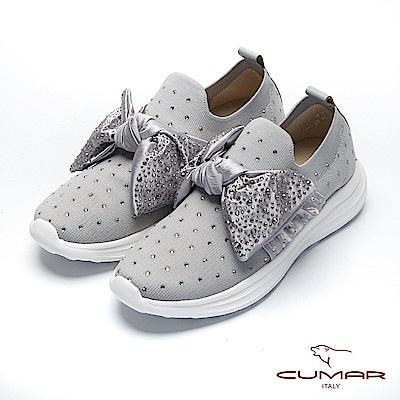 CUMAR悠遊輕井澤- 彈力飛織布碎鑽大蝴蝶結裝飾休閒鞋-灰