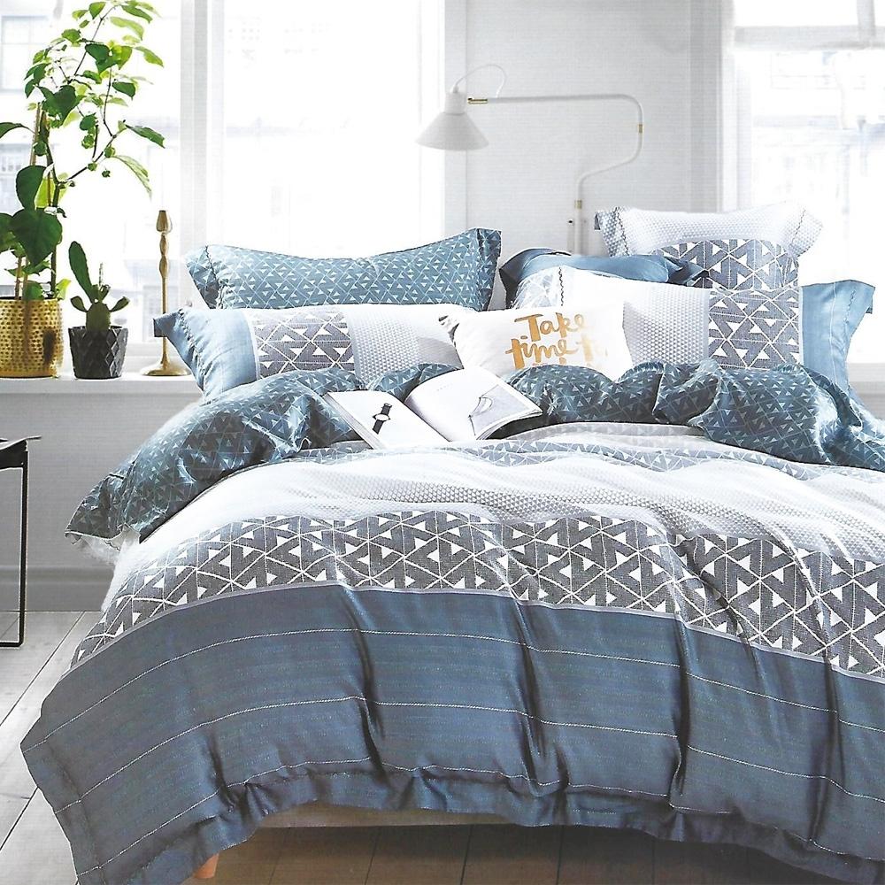 LAMINA 貝洛妮-藍 加大100%天絲四件式兩用被套床包組
