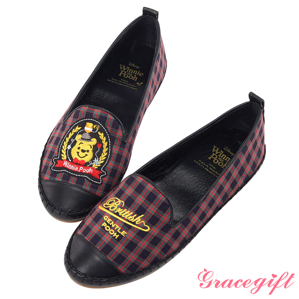 Disney collection by grace gift紳士造型徽章樂福鞋格紋