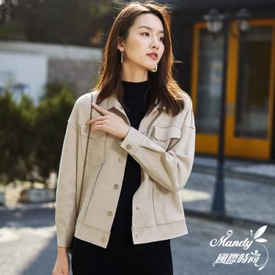 Mandy國際時尚 外套 秋冬 麂皮絨皮衣女寬鬆港風潮短款外套(2色)