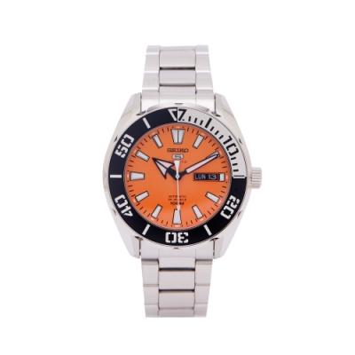 SEIKO 5號機械機芯sport系列不鏽鋼錶帶手錶 (SRPC55K1)-橘面X黑與銀色框/45mm