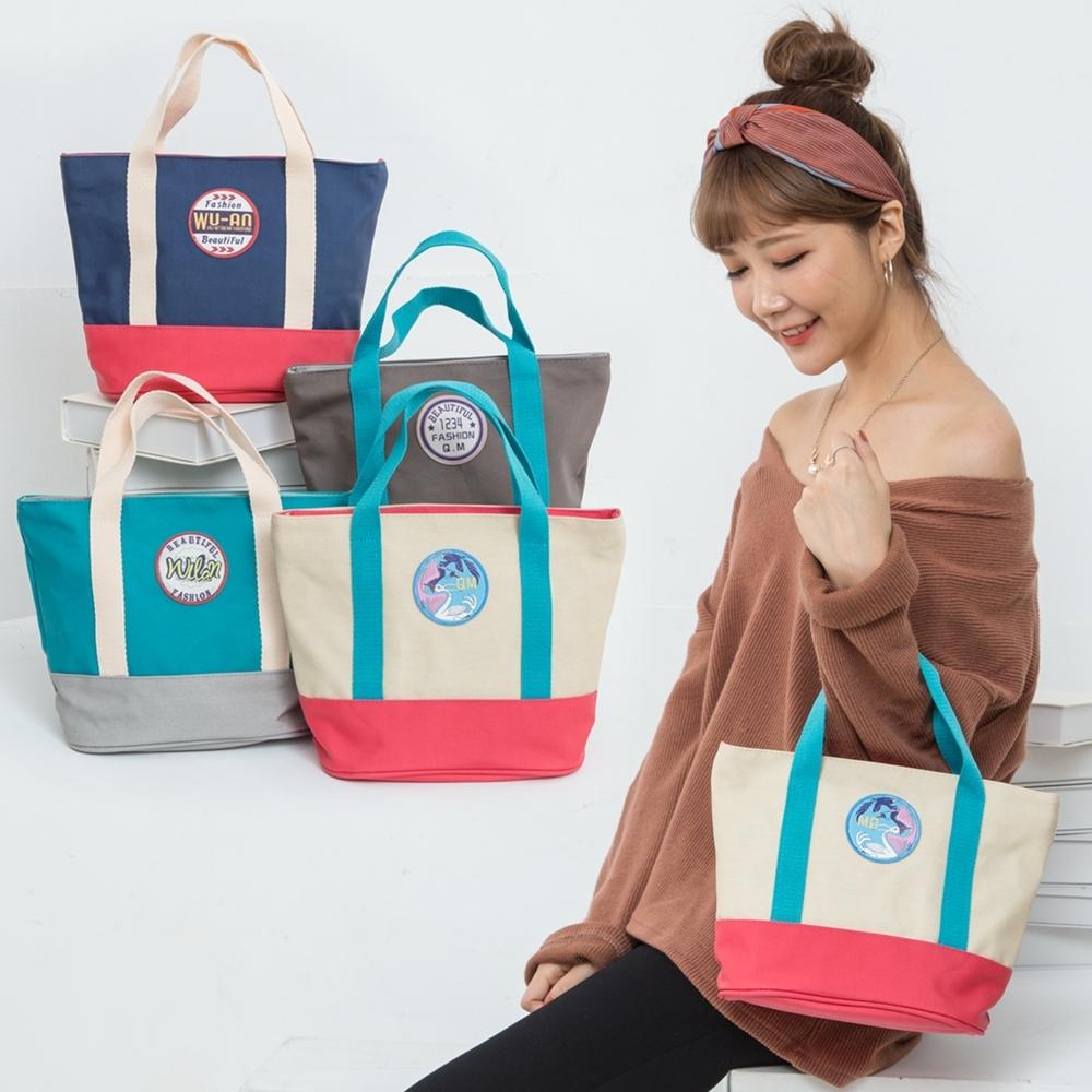 【優貝選】素面搭色多用途便當袋/小提包/午餐包