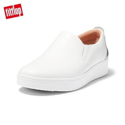 【FitFlop】RALLY METALLIC BACKTAB SLIP-ON SNEAKERS 易穿脫時尚休閒鞋-女(都會白/銀色)