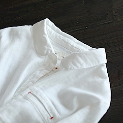 手工紅線中長版純棉白襯長袖衫-Y3455-設計所在