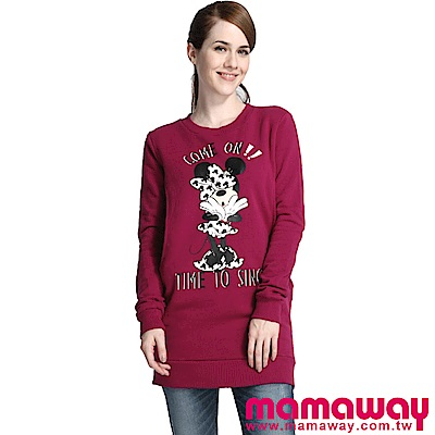 Mamaway 迪士尼俏皮米妮刷毛孕婦裝.哺乳衣