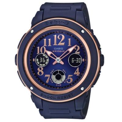 BABY-G時尚個性混搭玫瑰金風格運動錶-海軍藍(BGA-150PG-2B2)43mm