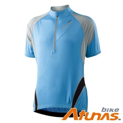 【Atunas 歐都納 Bike】男防曬吸溼排汗撼動短袖車衣B13026M淺藍/灰