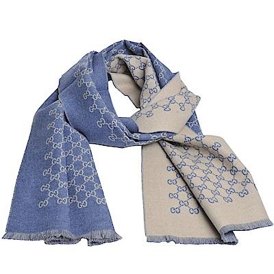 GUCCI SU SOGI 經典GG LOGO羊毛雙面寬版造型圍巾(米色LOGO/丹寧藍)
