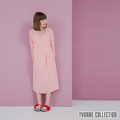 YVONNE手繪豬豬印花開襟七分袖洋裝-淺粉