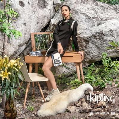 Kipling X MUKZIN 密扇聯名系列花鳥尋仙-皎月白色雙層收納手拿包-Duo Pouch Wrist