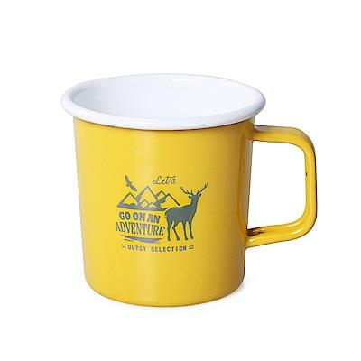 【OUTSY嚴選】高山水鹿琺瑯杯390ml(黃色)