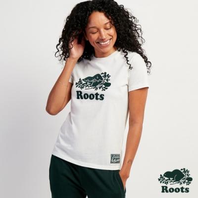 Roots女裝-荒野景緻系列 星空海狸短袖T恤-白色
